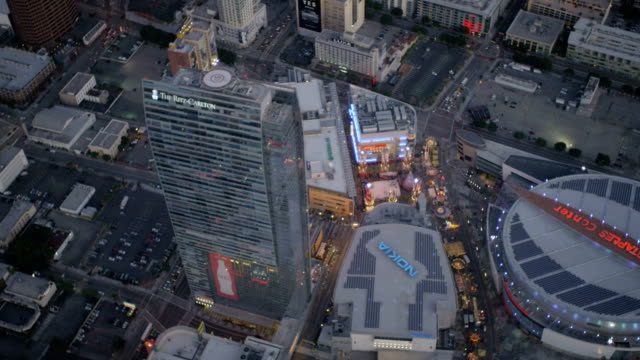 aerial illuminated view staples center downtown los angeles - staples center stock videos and b-roll footage
