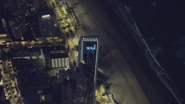 aerial illuminated view surfers paradise skyscrapers gold coast - penthouse stock videos & royalty-free footage
