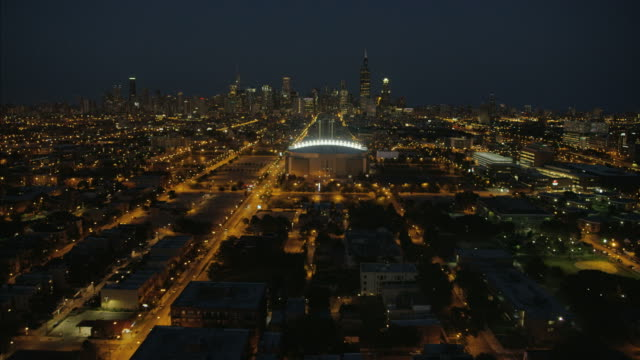aerial illuminated view united center sports arena chicago - stadium stock videos & royalty-free footage