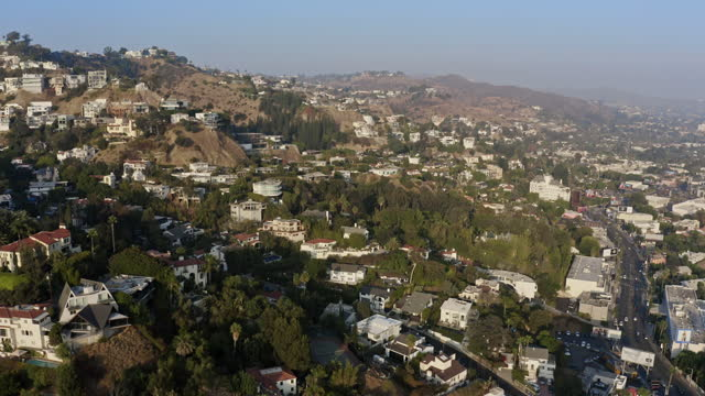 aerial image of west hollywood hills - west hollywood stock videos & royalty-free footage
