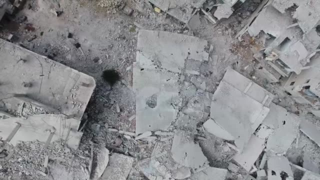 aerial images filmed by an afp correspondent in daraa show massive destruction in this southern syrian city ravaged by a six-year-long conflict - destruction stock videos & royalty-free footage