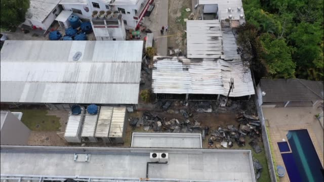 aerial images of brazil's football club flamengo training facilities as team's supporters mourn the deaths of 10 people killed after a fire ripped... - afp stock videos & royalty-free footage