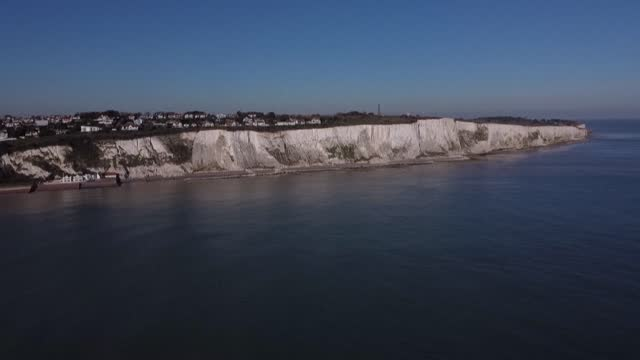 aerial images of the iconic white cliffs at saint margaret's bay near dover, england - cliff stock videos & royalty-free footage