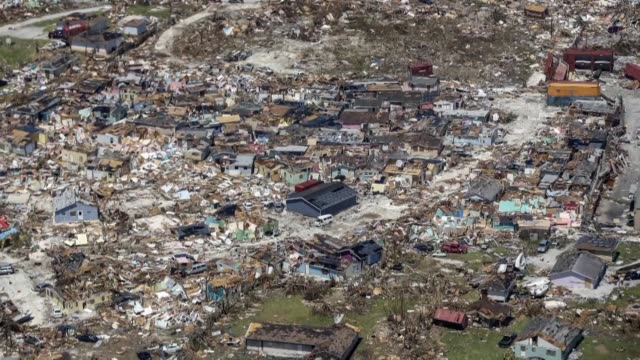 aerial images show the floods and damages from hurricane dorian on freeport grand bahama - damaged stock videos & royalty-free footage