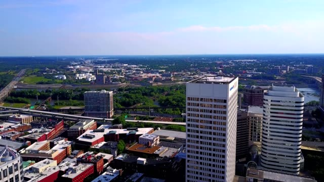 aerial in downtown richmond - richmond virginia stock videos & royalty-free footage