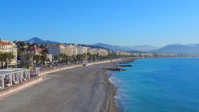 aerial: incredible view of the coastline of nice on a sunny day - 夏休み点の映像素材/bロール