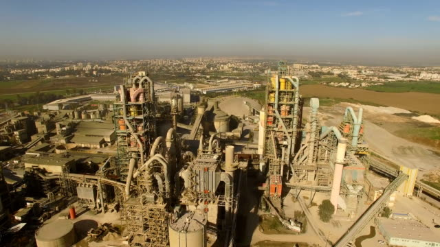 aerial /industrial cement factory - cement stock videos & royalty-free footage