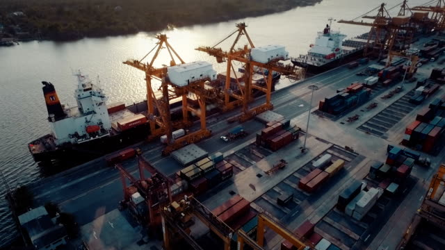 aerial industrial container terminal - container stock videos and b-roll footage