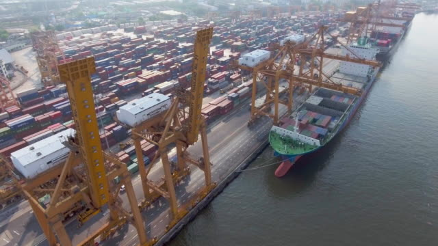 Aerial: Industrial port with containers ship