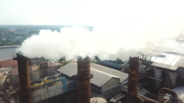 aerial industry smoke - chimney stock videos & royalty-free footage