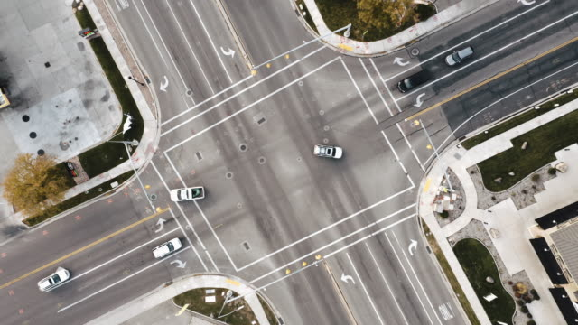 aerial intersection - traffic light stock videos & royalty-free footage