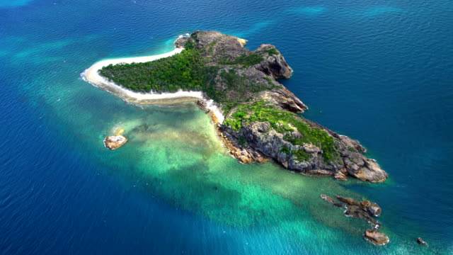 Aerial Island view Whitsundays Coral Sea South Pacific