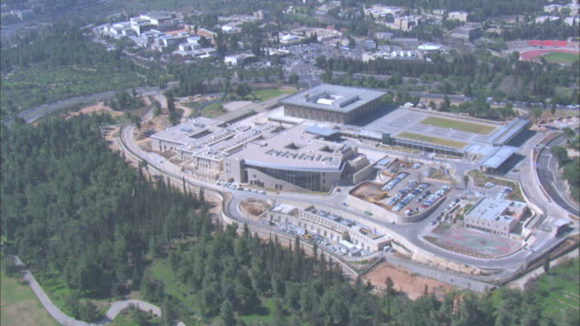 Aerial Israel Parliament - the Knesset - in the new city of Jerusalem, Israel