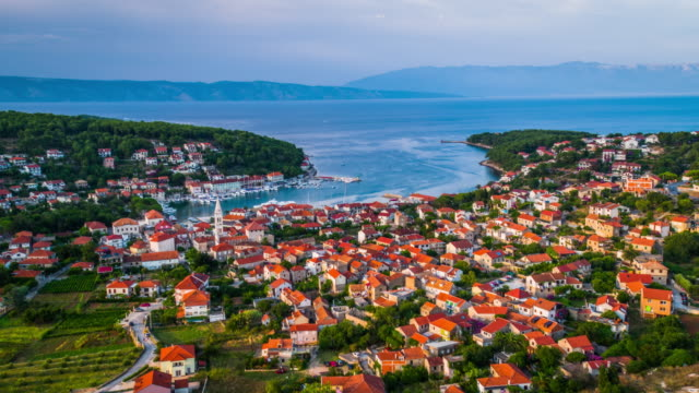 Aerial: Jelsa Town on the Island Hvar in Croatia