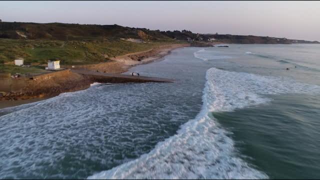 aerial jersey coastline - channel islands england stock videos & royalty-free footage