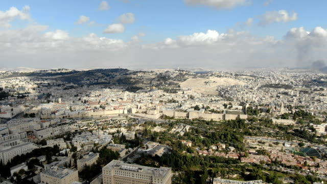 aerial / jerusalem - view from west to east - east jerusalem stock videos & royalty-free footage