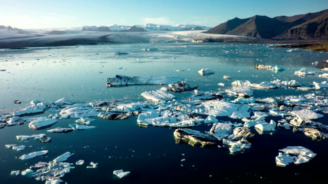 aerial : jokulsarlon lagoon iceberg lagoon iceland - lagoon stock videos and b-roll footage