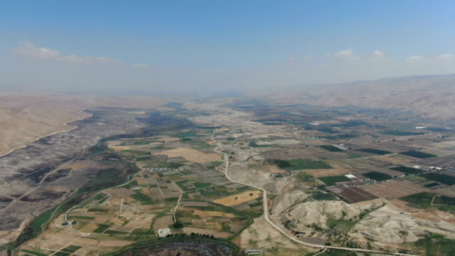 aerial / jordan valley in summer, with israel left and jordan right - middle east stock videos & royalty-free footage