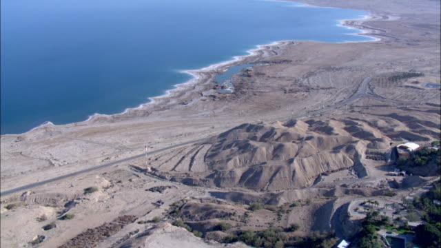 Aerial Kibbutz Ein Gedi and sinkholes of the dead sea in the Judea Desert, Ein Gedi, Judea Desert