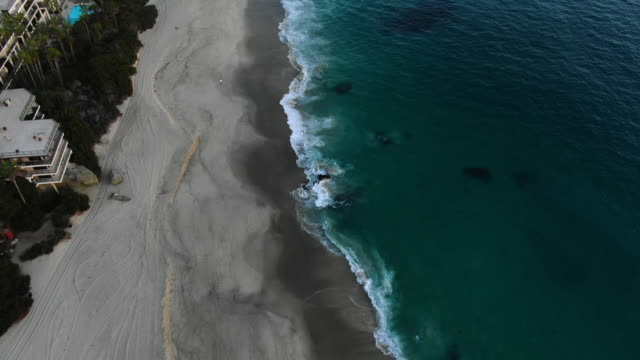 aerial: laguna beach and waterfront homes - laguna beach, california - laguna beach california stock videos & royalty-free footage