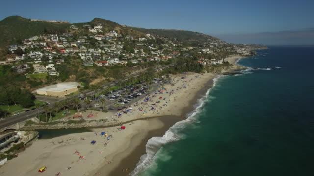 aerial laguna beach california - laguna beach california stock videos & royalty-free footage
