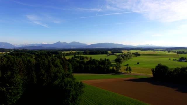 Aerial: Lake Abtsee, Bavaria in summer