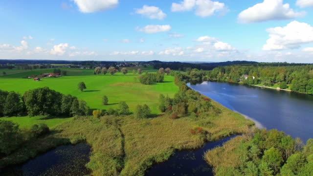 aerial: lake abtsee, bavaria - moor stock videos & royalty-free footage
