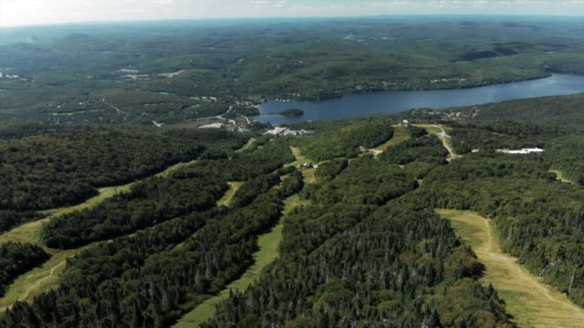 aerial: lake at bottom of ski are in summer - quebec stock videos & royalty-free footage