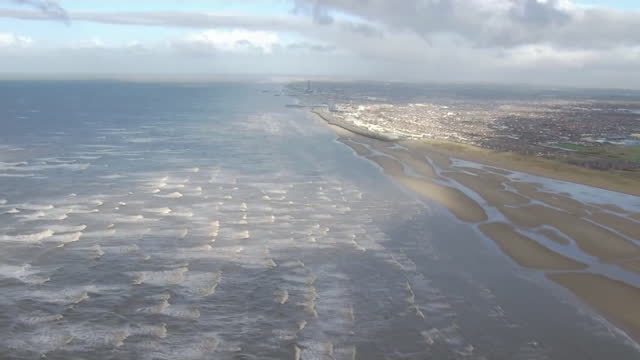 aerial lancashire coastline - aircraft point of view stock videos & royalty-free footage