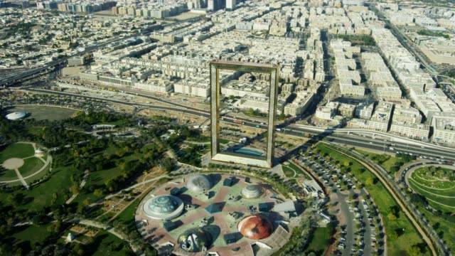 aerial landmark view dubai frame zabeel park uae - heat haze stock videos & royalty-free footage