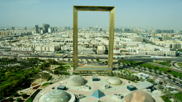 aerial landmark view dubai frame zabeel park uae - middle east stock videos & royalty-free footage