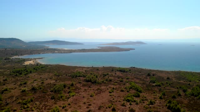 aerial landscape 4k seaside video from cunda island, turkey - landscaped stock videos & royalty-free footage