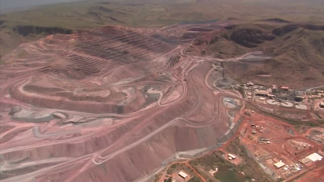 aerial landscape of a mine, western australia - mining stock videos & royalty-free footage