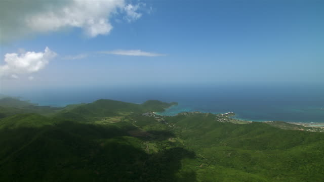 Aerial landscape of Antigua with view of Caribbean Sea.