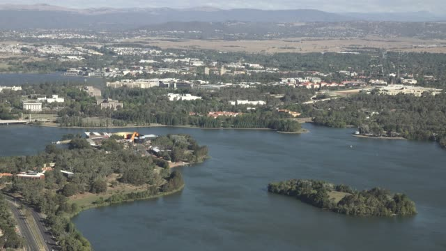 aerial landscape view of lake burley griffin in canberra australia - canberra stock videos and b-roll footage