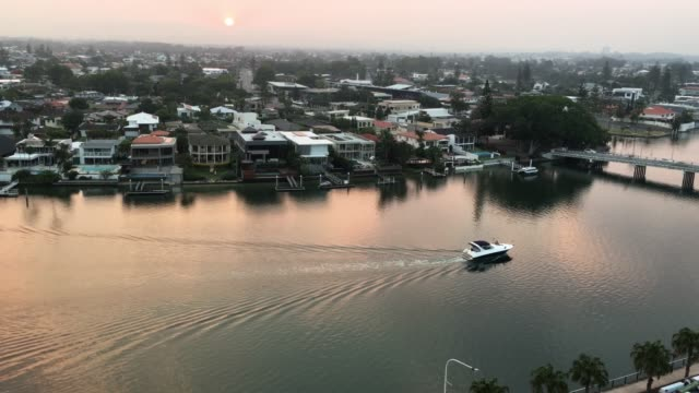 Aerial Landscape view of Surfers Paradise at Sunset