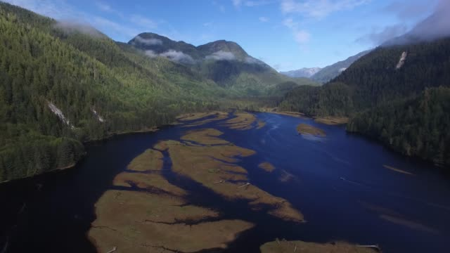 Aerial: Large River In Between Forest Covered Hills