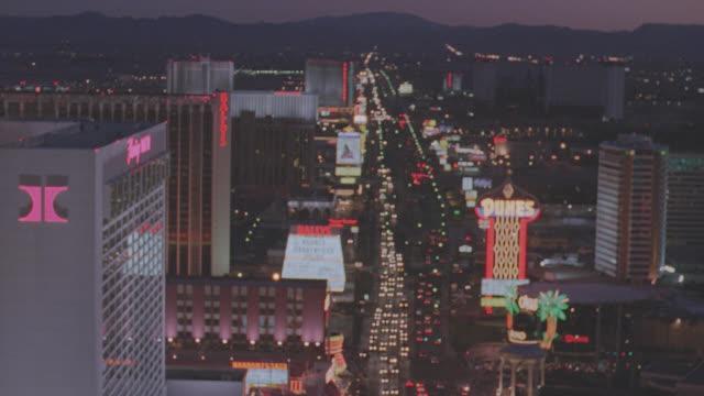 aerial las vegas strip - night - las vegas stock videos & royalty-free footage