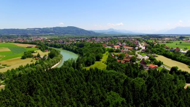 aerial: laufen, bavaria, in summer - german culture stock videos & royalty-free footage