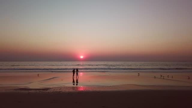 vídeos de stock, filmes e b-roll de aerial left to right: friends in manhattan beach - obsoleto