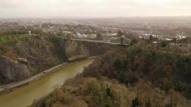 aerial leigh woods, a national trust reserve near the avon gorge and clifton suspension bridge in bristol - non urban scene stock videos & royalty-free footage