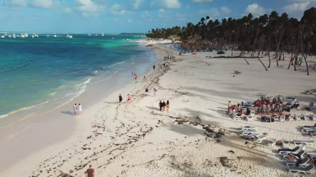 aerial: leisurely stroll down white sand beach - punta cana stock videos and b-roll footage
