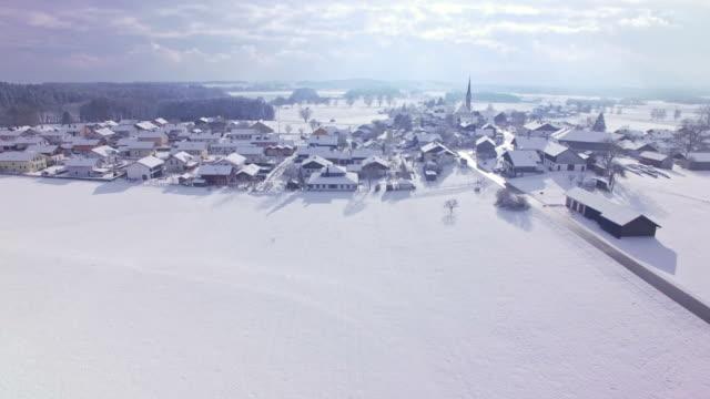 Aerial: Leobendorf, Bavaria, in winter