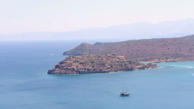 Aerial. Lepra Island on Crete, Greece.