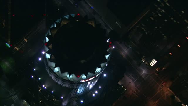 aerial ha ts ecu library tower at night, us bank / downtown los angeles, united states - us bank tower stock videos & royalty-free footage