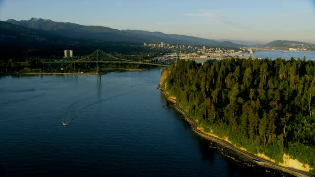 aerial lions gate bridge vancouver british columbia canada - inlet stock videos & royalty-free footage
