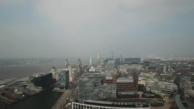 aerial liverpool skyline - merseyside stock videos & royalty-free footage