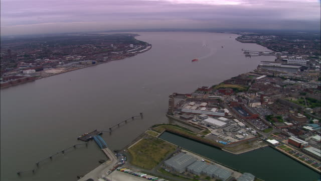 aerial liverpool waterfront and mersey/ liverpool, england - merseyside stock videos & royalty-free footage