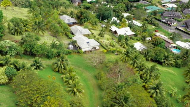 vidéos et rushes de aerial: locals walking on grassy trail above a coastal town, moorea, french polynesia - moorea