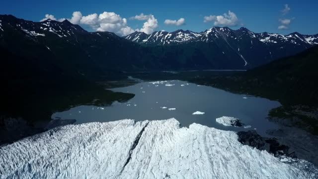 aerial lockdown: cold and wide national forest - chugach national forest stock videos & royalty-free footage
